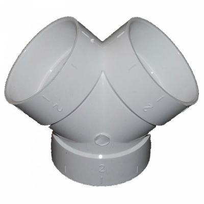 Тройник ПВХ 2х45 для пвх трубы встроенного пылесоса